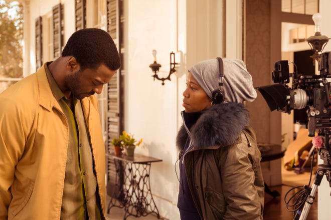 "Aldis Hodge and director Regina King on the set of ""One Night in Miami."" King was overlooked for a best director nomination."
