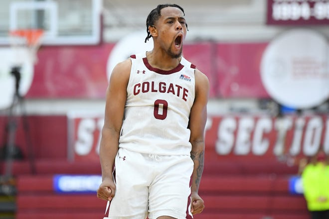 Colgate Raiders guard Nelly Cummings (0) reacts to a play against the Loyola (Md) Greyhounds during the second half of the Patriot League Conference Championship game at Cotterell Court.