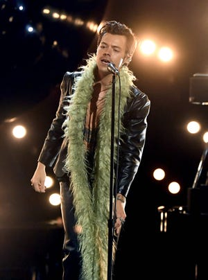 British singer Harry Styles performs during the 63rd Annual Grammy Awards Ceremony broadcast live from the Staples Center in Los Angeles on March 14, 2021.