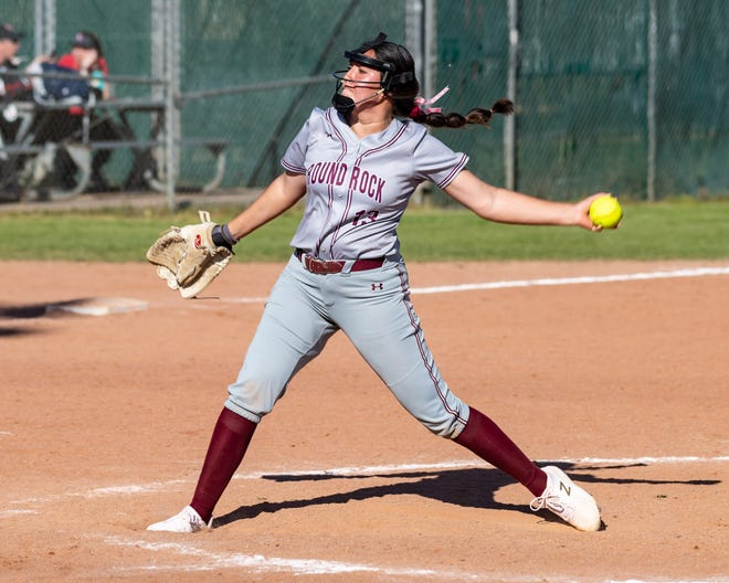 Round Rock pitcher Maddie Azua, delivering to the plate versus Elgin last year, threw a no-hitter in the Dragons' 2-0 win over Hutto last week.