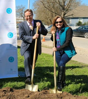 Bastrop Economic Development Corporation CEO Cameron Cox stands next to Mayor Connie Schroder last year at a groundbreaking ceremony at Ferry Park for the Main Street Rehabilitation Project.