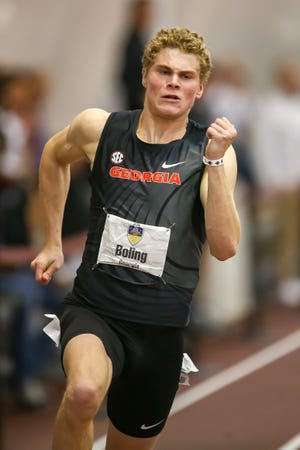 UGA sprinter Matthew Boling won the 200-meter event at the National Indoor Championships last weekend. (Photo/UGA Sports Communication)