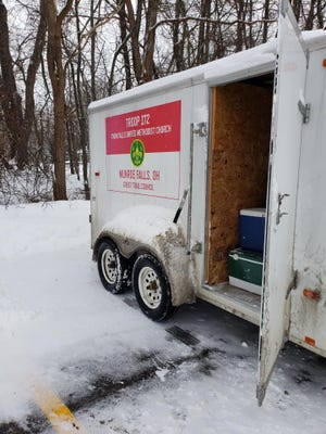 Boy Scout Troop 172's camping trailer was stolen some time last week, despite being secured with multiple locks and a tire boot.
