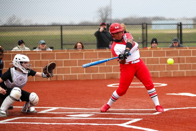Melissa's Rachel Wells (28) hits a two run homer in the first inning vs Anna at Anna High School field, Tuesday afternoon, March 9, 2021.