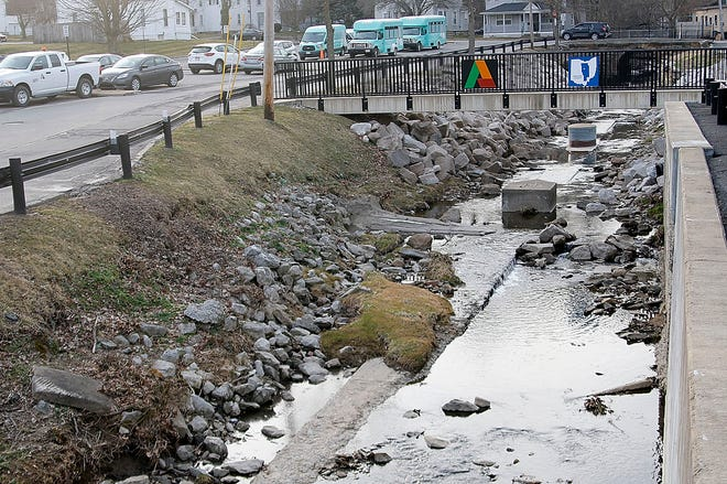 The city of Ashland will be turning Center Run (Town Creek) green for St. Patrick's Day at noon and is shown here on Tuesday, March 16, 2021. TOM E. PUSKAR/TIMES-GAZETTE.COM