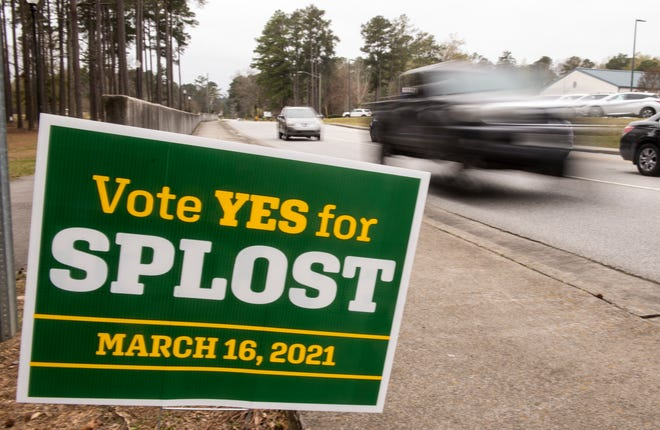 A SPLOST sign on Warren Road near Warren Road Elementary School photographed Tuesday afternoon March 16, 2020.