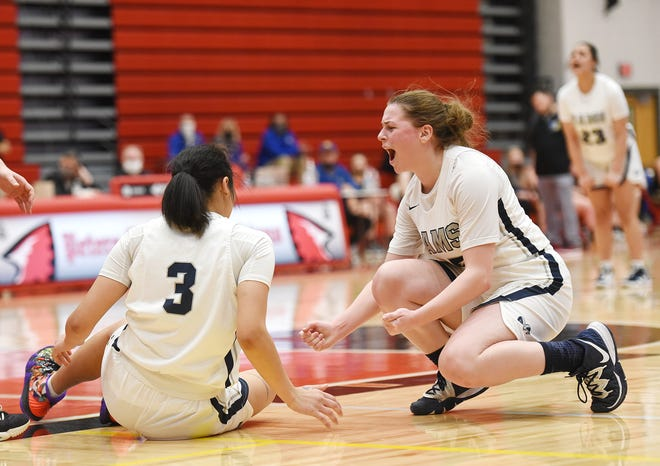 Rochester's Kallista Seybert reacts after Alexis Robison (3) gets fouled while scoring a basket against West Greene during the WPIAL Class 1A championship Monday at Peters Township High School.