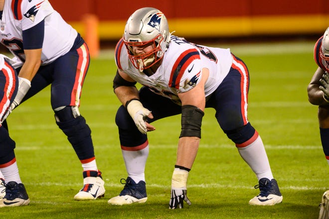 New England Patriots offensive guard Joe Thuney (62) lines up during a game against the Kansas City Chiefs on Oct. 5 in Kansas City.