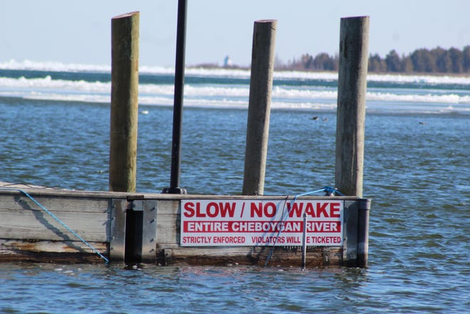 There are many of these no wake zone signs posted along the Cheboygan River, as well as on the Black River and Indian River, reminding boaters and those on personal watercraft that these waters are no wake to protect surrounding properties and local wildlife.