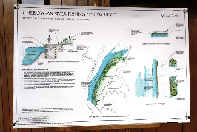 Drawings of the proposed Cheboygan River Fishing Pier Project were presented to the city council meeting last year. The pier would go on the eastern banks of the Cheboygan River, off the Children's Trail in Major City Park.