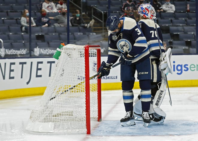 It has been an all-too-common sight for the Blue Jackets this season: a defenseman, in this case Seth Jones, digging a puck out of the back of the net after it has slipped past a Columbus goaltender, in this case Joonas Korpisalo.