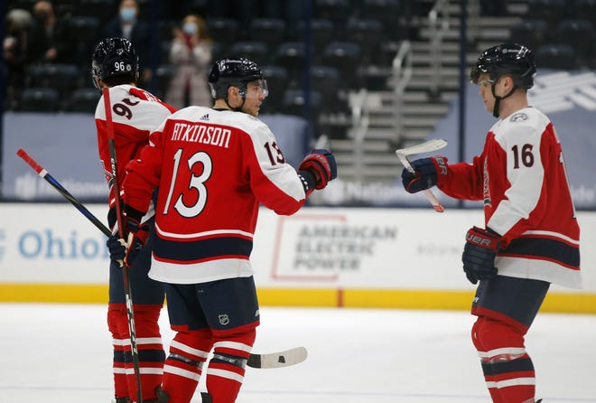 Cam Atkinson (13), Max Domi (16) and the Blue Jackets enjoyed some good moments in a weekend split with the Dallas Stars, but they have a lot of ground to make up to become a playoff team in the NHL Central Division.