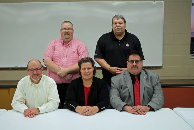 Rittman Exempted Village Schools Board of Education members: In the front row, from left to right, are Craig Beltz, Abby Avery and Doug Stuart. In the back row, from left to right, Andy Baillis and Dave Plahuta. File photo taken prior to the COVID-19 pandemic.