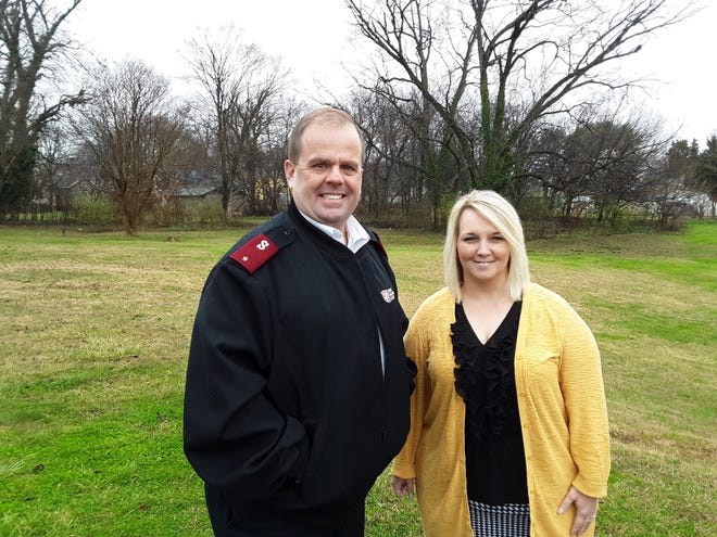 Lt. Wayne Meads (left) with the Salvation Army of Davidson County and Ashely Phillips, director of First Hope Ministries, formerly Crisis Ministry of Davidson County, stand on the location of the proposed new homeless shelter on Robbins Street.