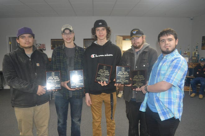 Five Alfred State students were honored Sunday night for their quick actions that resulted in saving the life of a Wellsville man. From left are Kameron Mills, Owen Brewster, Alex Tanerski, David Snyder and Jack Derby.