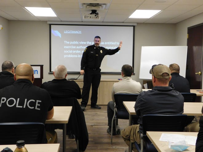 Captain Dan Palmisano conducts a Procedural Justice training session for officers from several area departments Tuesday morning at the new ICAN hub in Herkimer.