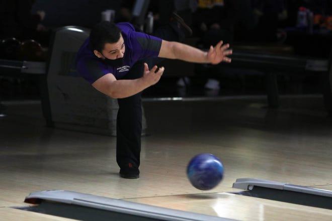 Burlington High School Machias Perez bowls a frame during the Southeast Conference bowling at KingPins, Monday Feb. 8, 2021 in Burlington.