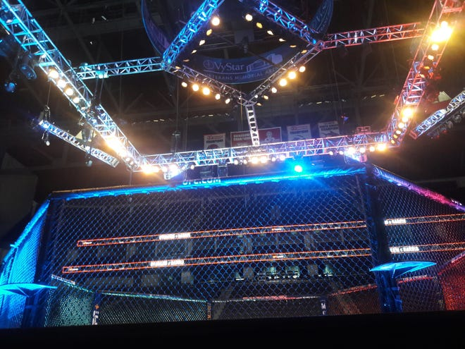 A view of the octagon for the UFC Fight Night mixed martial arts event at Jacksonville's VyStar Veterans Memorial Arena on May 16, 2020. [Clayton Freeman/Florida Times-Union]