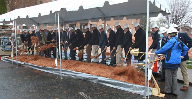 The turning of the dirt during the groundbreaking ceremony for the new Advanced Technology Center held Tuesday afternoon, March 16, 2021, on the campus of Cleveland Community College in Shelby.