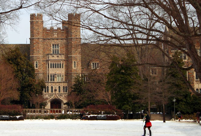 A view of the Duke University Campus Building in Durham, North Carolina. Nine fraternities disaffiliated from Duke ran their recruitment process this spring, leading to an outbreak of COVID-19 cases.