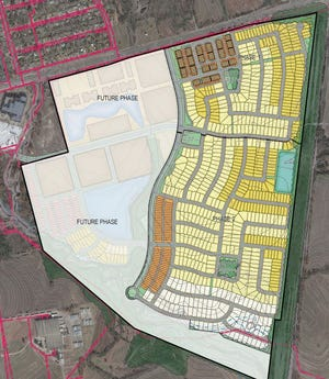Site plans show the proposed layout of Bel Air Village. The city of Sherman has approved a Public Improvement District for the development that will help developers offset the cost of some of the site's infrastructure and amenities.