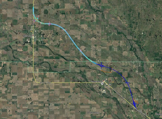 """This map shows the route of the new Northwest Passage through Rice and Reno counties which state highway officials awarded last month. The two lanes of new """"Super Two"""" highway are in the light and dark blue, while overpasses, underpasses and connecting roadways are in other colors. The project will take two-plus years to build."""