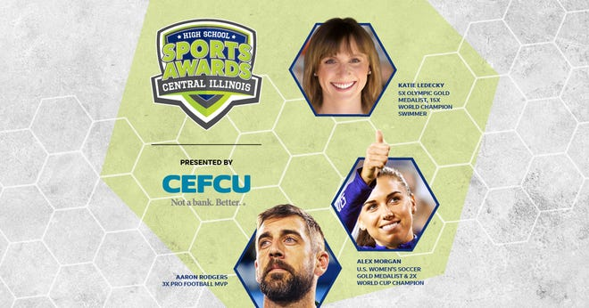 Three-time NFL MVP Aaron Rodgers, two-time FIFA World Cup Champion Alex Morgan and five-time Olympic gold medalist Katie Ledecky will be among a highly decorated group of presenters and guests in the Central Illinois High School Sports Awards premiering this summer on USA TODAY streaming platforms and channels. 