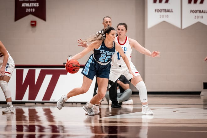 LCU's Channing Cunyus defends SWOSU's Maddie Sperle during a South Regional championship game Monday, March, 15, 2021, at the First United Bank Center in Canyon, Texas.
