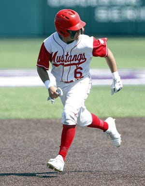 Denver City's Uriel Rodriguez (6) runs to third base during a Region I-4A semifinal game against Godley, Saturday, May 26, 2018, at Crutcher Scott Field in Abilene, Texas. [Brad Tollefson/A-J Media]