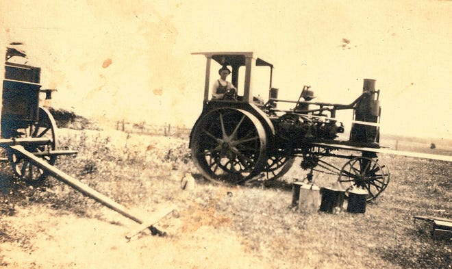 A tractor from 1918 on a farm near Chestnut.
