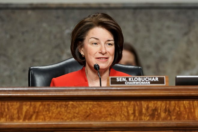Sen. Amy Klobuchar, D-Minn., speaks during a Senate Committee on Homeland Security and Governmental Affairs and Senate Committee on Rules and Administration joint hearing Wednesday, March 3, 2021, examining the January 6, attack on the U.S. Capitol in Washington. (Greg Nash/Pool via AP)
