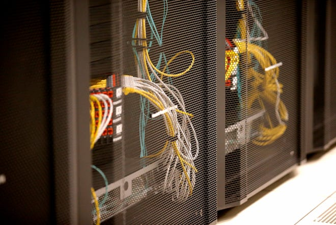 Servers are shown at the Oklahoma Office of Management and Enterprise Services Data Center in Oklahoma City. The backup for state servers is at a Texas facility.