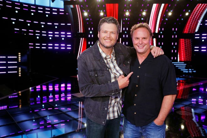 "Blake Shelton, left, and Scott Hendricks appear on ""The Voice."""