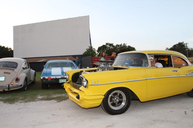 In this 2011 file photo, Sid Mastrangelo pulls his 1957 Chevrolet Bel Air into the Ocala Drive-In as other classic cars were already parked in front of the big screen. This was during the grand re-opening of the theater, which is on South Pine Avenue in Ocala. Mastrangelo organized a monthly car show in southwest Marion for years. He has died of COVID-19, so now his show will go on under different leadership.