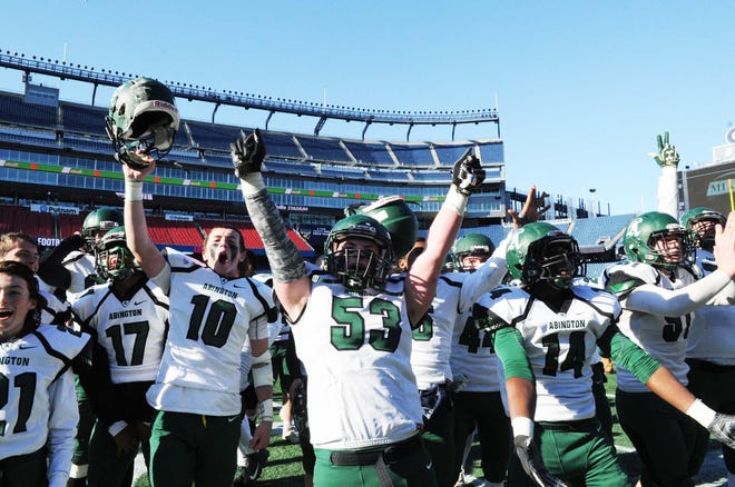 The Abington High football celebrates winning the Div. 7 state championship at Gillette Stadium in 2019.