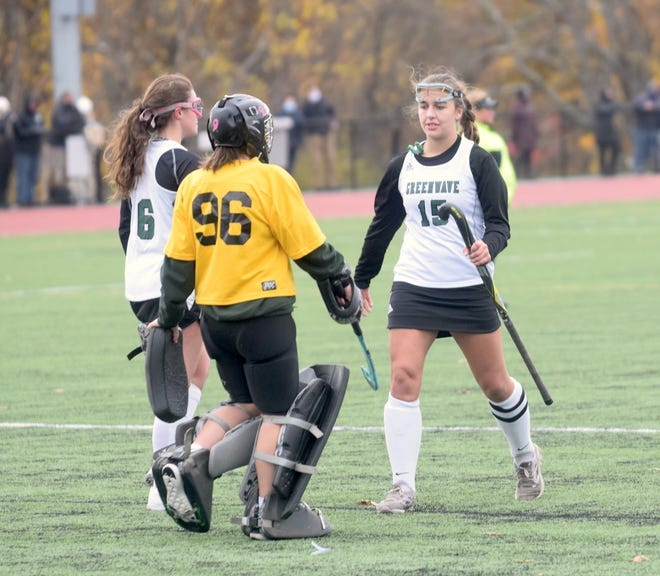 Dover senior Charlotte Morin (15) reacts following last season's loss to Windham in the Division I field hockey state final. Morin was one of Dover's five seniors on the team.