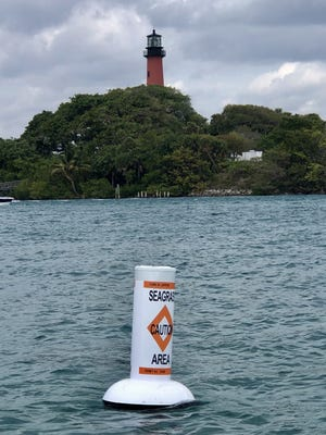A buoy seen in the Jupiter Inlet alerts boaters to the presence of seagrass beds. The buoys were installed March 1 on behalf the Jupiter Inlet Foundation. Photo by Maria Fernanda Borthiry