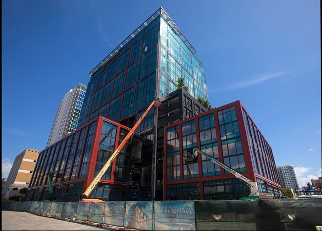 The 360 Rosemary, a 20-story, 300,000-square foot office building in downtown West Palm Beach Tuesday, March 16, 2021. Mortgage lender NewDay USA  confirmed plans to create a headquarters in the building, bringing 600 new jobs to a city attracting a host of financial services firms.