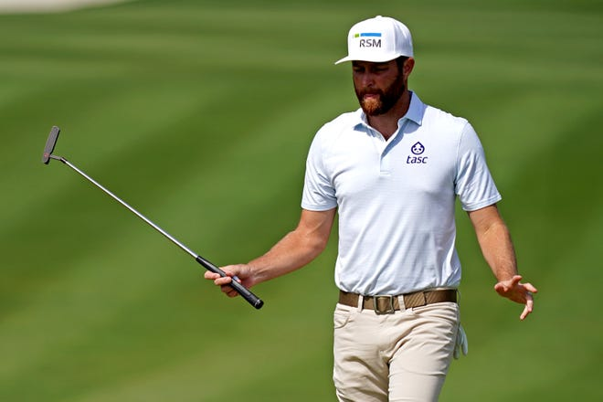 Chris Kirk reacts to his putt on the second green during the third round of The Players Championship TPC Sawgrass. [Jasen Vinlove-USA TODAY Sports]