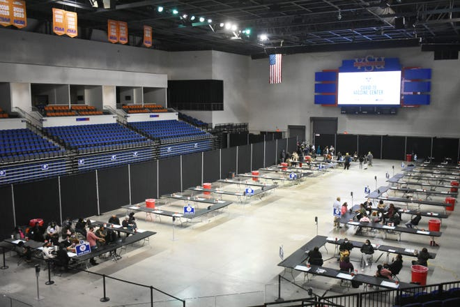 The floor of the Multi-Purpose Center at Virginia State University is set to provide COVID-19 vaccines to residents of Central Virginia.