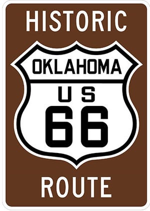 Route 66 signs.
