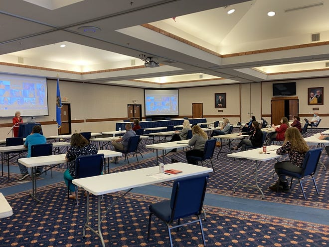 Seminole State College President Lana Reynolds addresses campus leadership during the first meeting of the newly formed President's Cabinet on March 10 at the Utterback Ballroom.