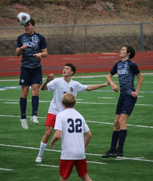 Shawnee's Daniel King executes a header against Ponca City last weekend in the Choctaw Tournament.