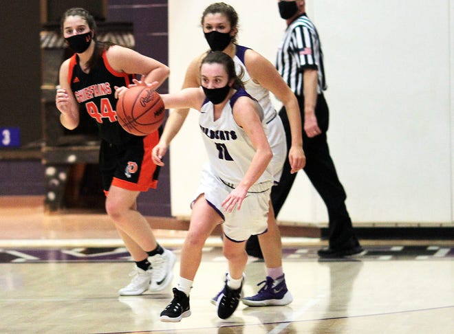 Macy Ivins of Three Rivers runs down a loose ball against Dowagiac on Monday.
