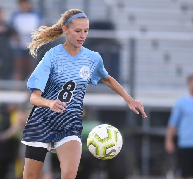 Hoggard's Ainsley Norr, here during the 2019 playoffs against Laney, leads a Vikings team with state title aspirations in 2021.