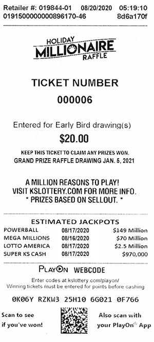 Here's one of the tickets in the Kansas Lottery's Holiday Millionaire Raffle, for which the winning ticket was recently turned in.