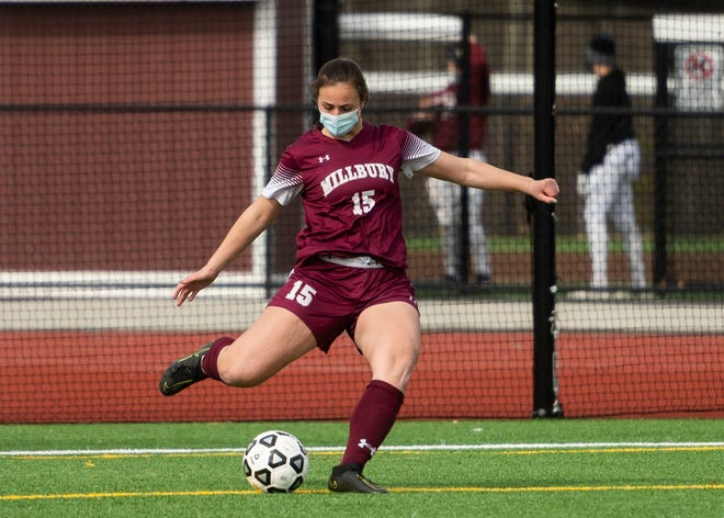 MILLBURY - Millbury's Cameron Wilbur puts the ball in action during the season opener against St. Paul on Tuesday, March 16, 2021.