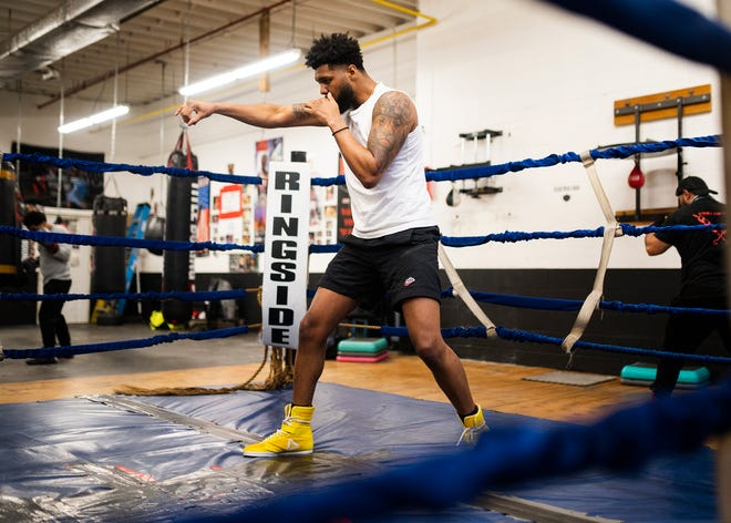 Worcester's Kendrick Ball, Jr. prepares for an upcoming fight while working out at Camp Get Right.