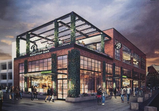 An earlier rendering of a planned restaurant at the Mercantile Center in downtown Worcester.