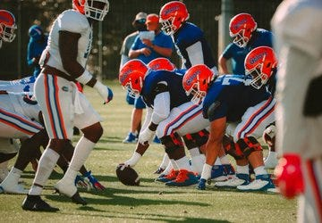 Florida's offensive line at the ready during spring practice.